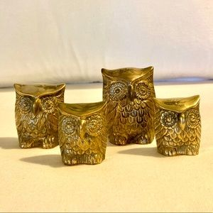 Vintage Leonard Owl Family, Solid Brass Set of 4